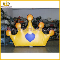 Yellow inflatable crown model for advertising, inflatable crown replica