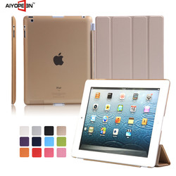 Good qulity Sim PU Leather Smart Cover Stand Case Ultra-thin Auto sleep Multiple Shape tablet case for ipad2