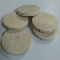 Natural Flat Round Wood Beads 30x5mm