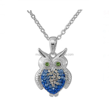 Fine Jewelry 925 Sterling Silver Owl Blue Clear AAA CZ Pendant Necklace