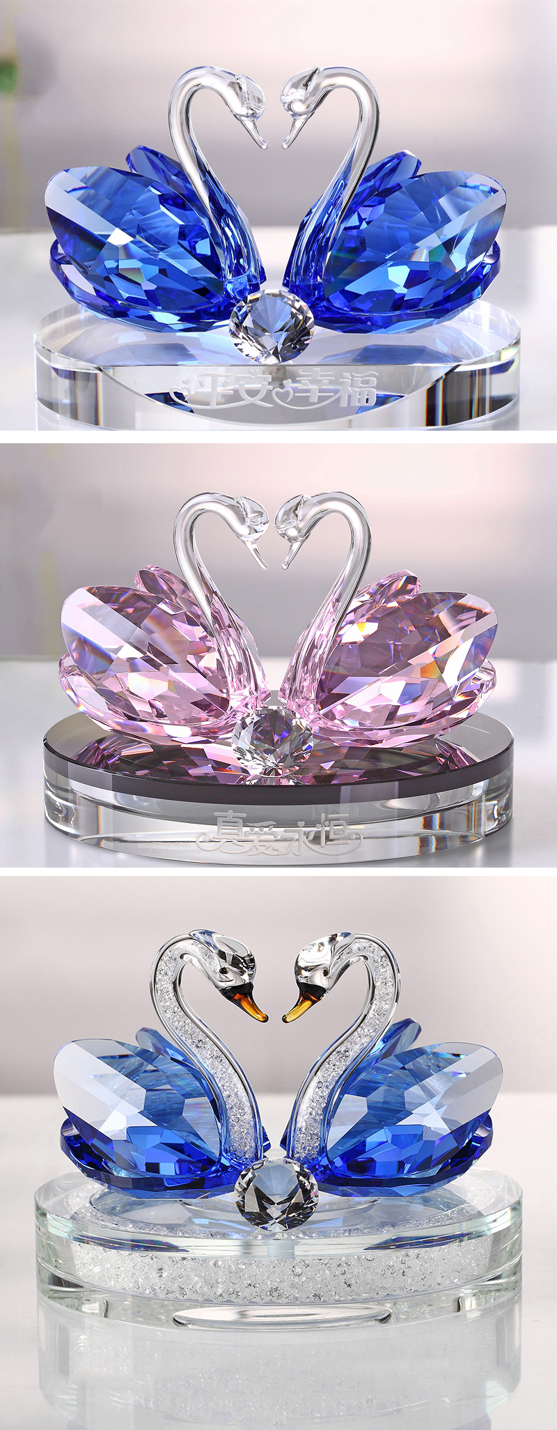 Wholesale Creative Car Decoration Crystal Swan crafts perfume bottles for Business Gift