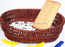 Wicker Rattan Pet Dog Bed with Canopy and Cushion