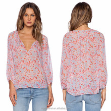 100% silk long sleeve elegant blouse design fashion V neck tie silk blouse with pink floral print