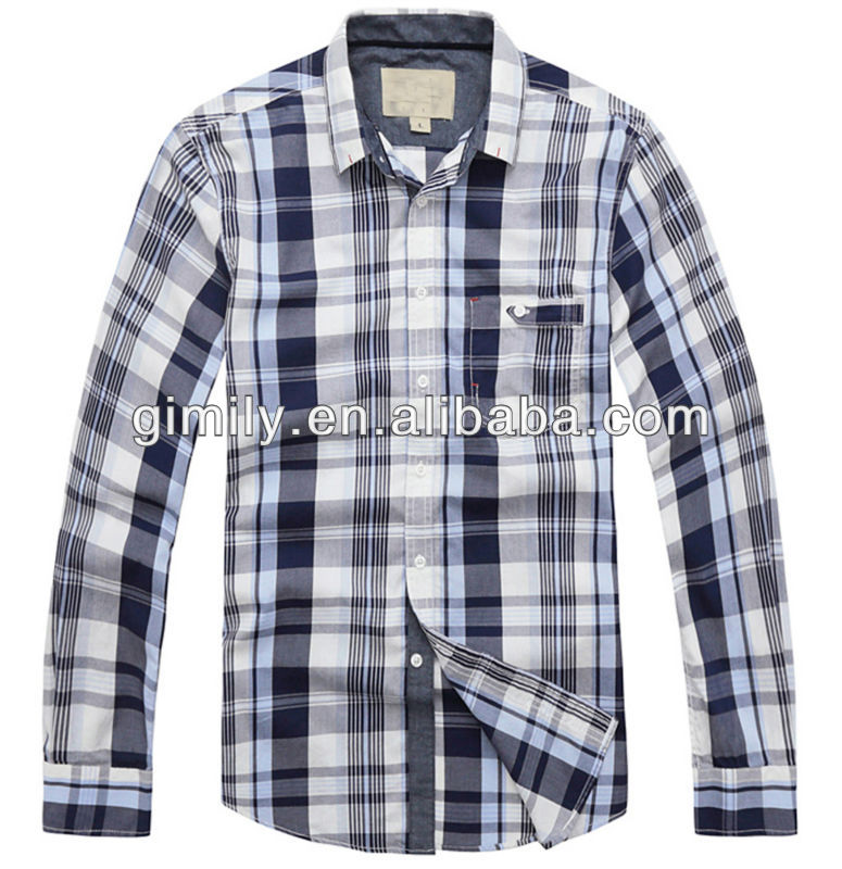 cheap wholesale brand name clothes men Plaid Casual Cotton Long Sleeve Shirts Button Front for teen