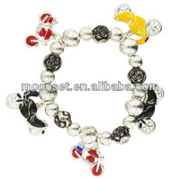 2014 Fashion Motorbike Charms Gemstone Dangle Semi-Precious Stones Bracelet