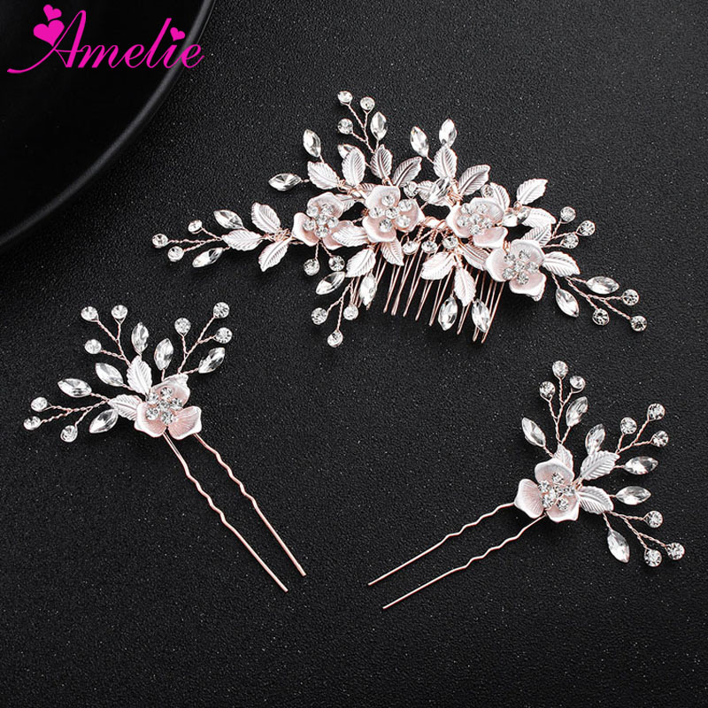 Delicacy Headpiece Favors Rose Floral Design Wedding Hair Comb and Bobby Hair Pin Bridal Headdress For Hair Decoration