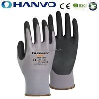 HANVO Seamless 15G Knitting Micro Foam Nitrile Coated Firm Grip Gloves