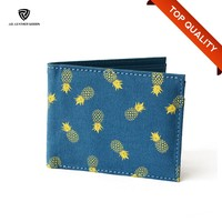Bi-Fold Flap Closure Blue Printed Cotton Cloth Wallet