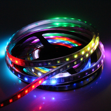 DC5V WS2812B RGB LED Strip SMD 5050 LED Strip Ribbon Christmas Decoration 60LED/M*5m 300LED Black PCB Silicone Tube Waterproof