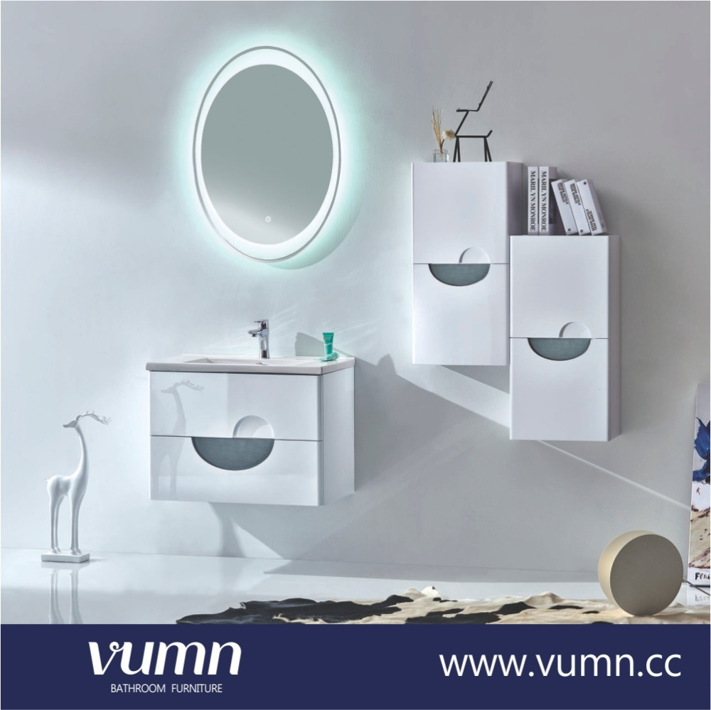 White luxury furniture european bathroom modern washroom cabinet vanity lamp