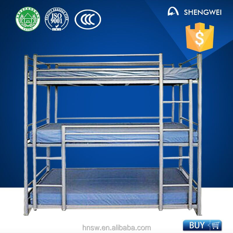 3 layers steel bunk bed three person bunk bed metal triple bunk bed for hotel