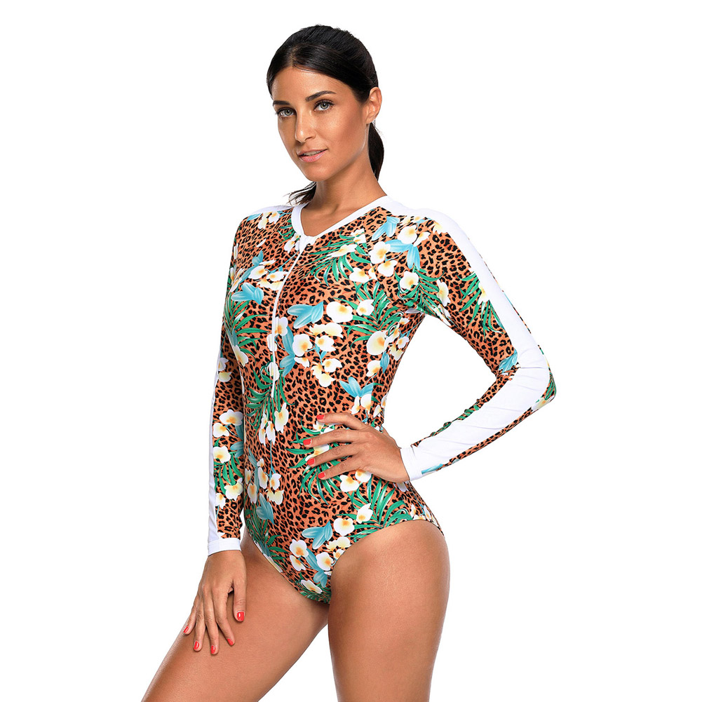 Sexy New Print Long Sleeve One Piece Womens Swimsuits