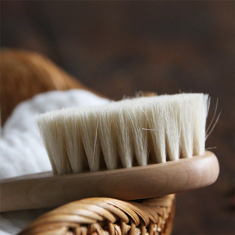 100% Nature wooden soft goat hair brush Shampoo Bath baby shower brush