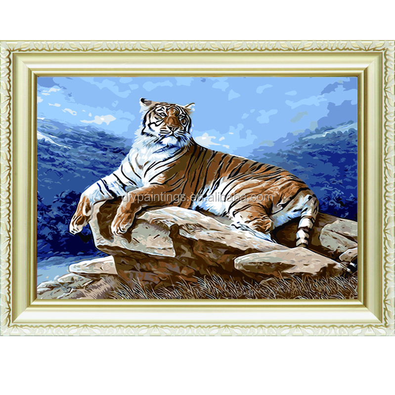 Good tiger design abstract oil paint by numbers