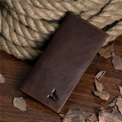 8011-1C Coffee Color Blank Bi Fold Genuine Leather Card Holder Thin Wallets For Men