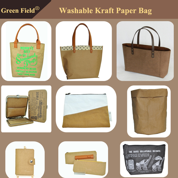 Washable Kraft paper metallic bag, metallic paper cosmetic bag