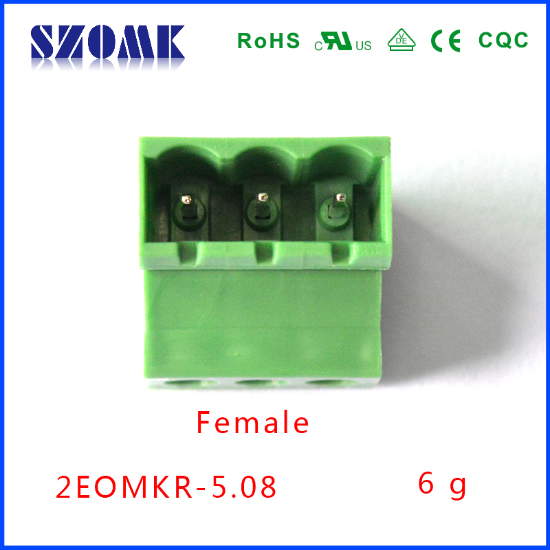 Quick plug type terminal blocks 5.08mm space right angle wire connector male from Chinese manufacture