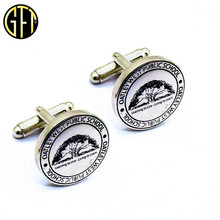 High Quality Custom Engraved Logo silver Metal Luxury CuffLinks