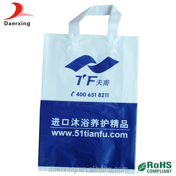 easy carry patch loop handle plastic bag for shopping with your logo