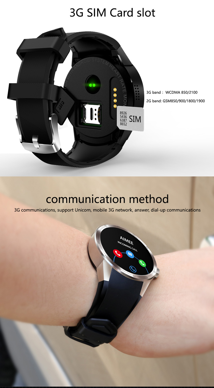 2017 IPS screen 3G Wifi android watch smart 4.1 android system with BT 4.0 Heart rate nomitor smart watch sim iLepo watch