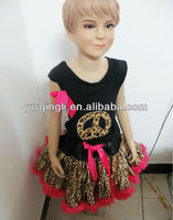 2014 Wholesales new design leopard baby girls petti dress with tank sleeves baby girl outfits