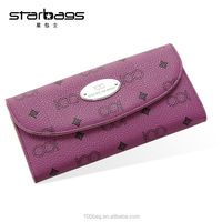 2016 ladies floral printed wallet with two foldings custom designer wallet for women