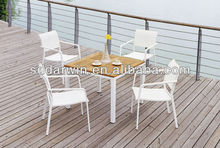 5 piece solid wooden garden set table top and chairs
