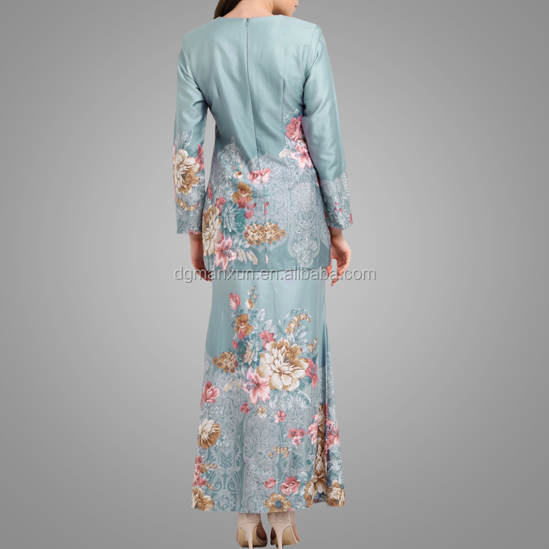 China Manufactory Direct Supply Long Sleeve Flower Baju Kurung Latest Fashion Style Women Melayu Clothing Abaya
