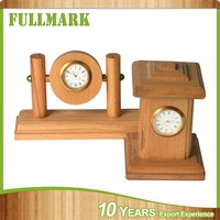 Solid wood proper different type wooden desk clock