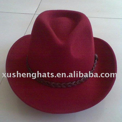 newly designed 100% orange wool felt red lemmy cowboy hat made in china