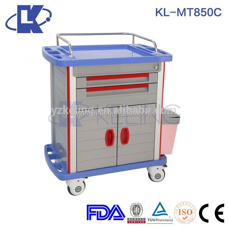 chemical resistant medial trolley medicine patient trolley whisht casters