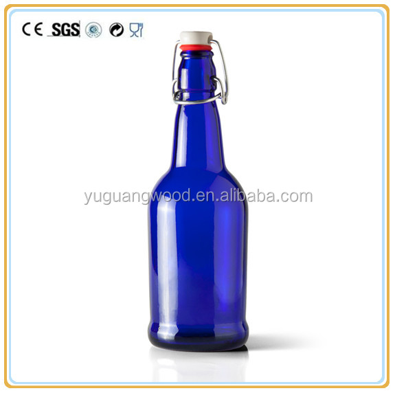 16 oz Round Glass Cobalt Blue Beer Bottle / high quality food grade water juice glass bottle