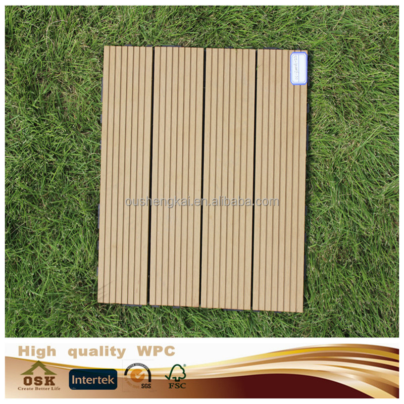 300* 300 mm european standard wpc diy tiles wpc decking tiles with groove wpc wood plastic composite