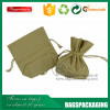 organic olive-green small drawstring cotton bag wholesale