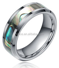 Wholesale Tungsten Metal Rings with Abalone Shell Inlay for Men ,Comfort Fit Ring