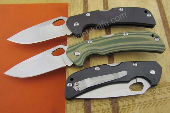 White stone wash 420 blade with G 10 handle with utility military pocket knife