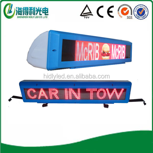 shenzhen WIFI 3G waterprof SMD full color Car advertising taxi led sign