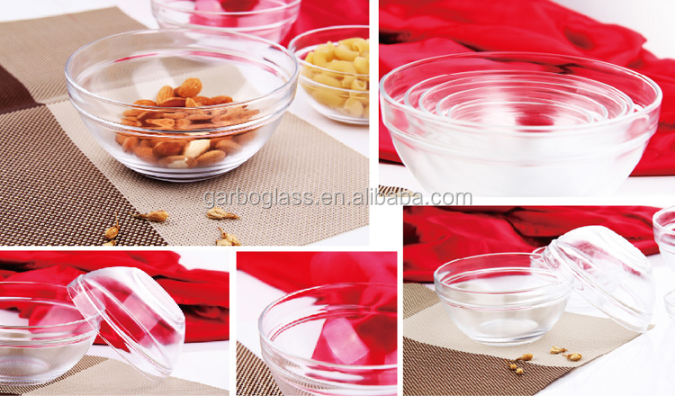 Decaled printing glass bowl sets of 5pcs with colored plastic lid