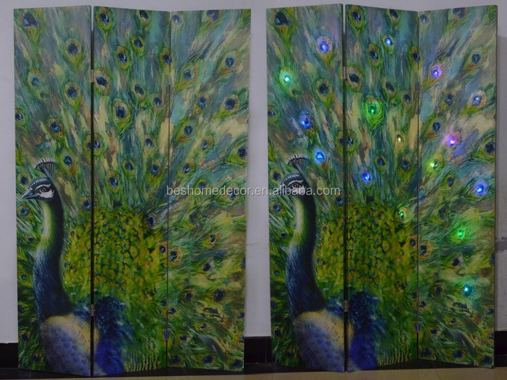 3 panels screen room divider folding screens butterfly light up canvas screens