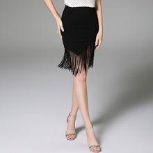 2016 Summer Sexy Ladies Tassel Irregular Hem Midi Skirt Fashion High Waist Slim Black Women Skirts