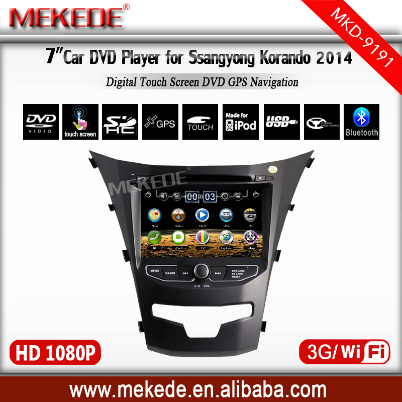Car dvd gps for Ssangyong Korando +7'' touch Screen+radio +Bluetooth hand free function+wifi+1080p
