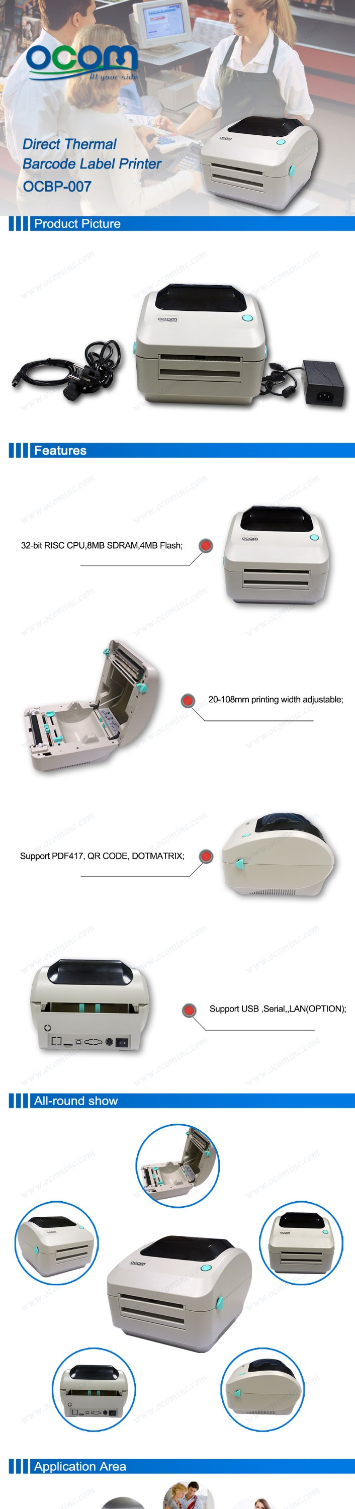 OCBP-007: cheap price 4 inch thermal barcode sticker printer dealers similiar with godex or argox