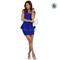 2015 new design plain blue peplum dresses ladies elegant office formal one-piece dresses