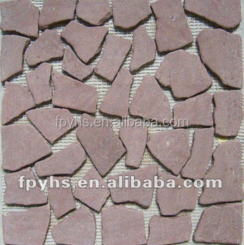 red marble stone mosaic tiles