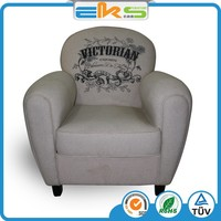 COTTON PRINTING FABRIC UPHOLSTERED PU PVC LEATHER CLASSIC ONE SEAT ANTIQUE LEISURE ARMCHAIR SOFA