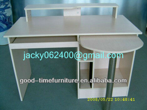 maple wooden color melamined MDF and metal round computer desk
