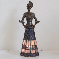 Lady figurine Table Lampes tiffany glass mini desk light night lamp