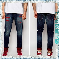 Top Quality Skinny Denim Jeans Distressed Patched Men Famous Brand Pants