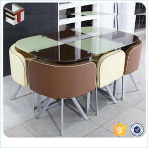 High-end tempered glass dining table 6 chairs set