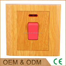 Yellow wood 20a switch socket outlet , 20a isolator switch, led light wall switch